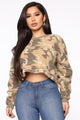 Action Woman Camo Pull Over - Olive/combo