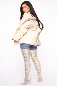 Happily Leather After Puffer Jacket - Ivory