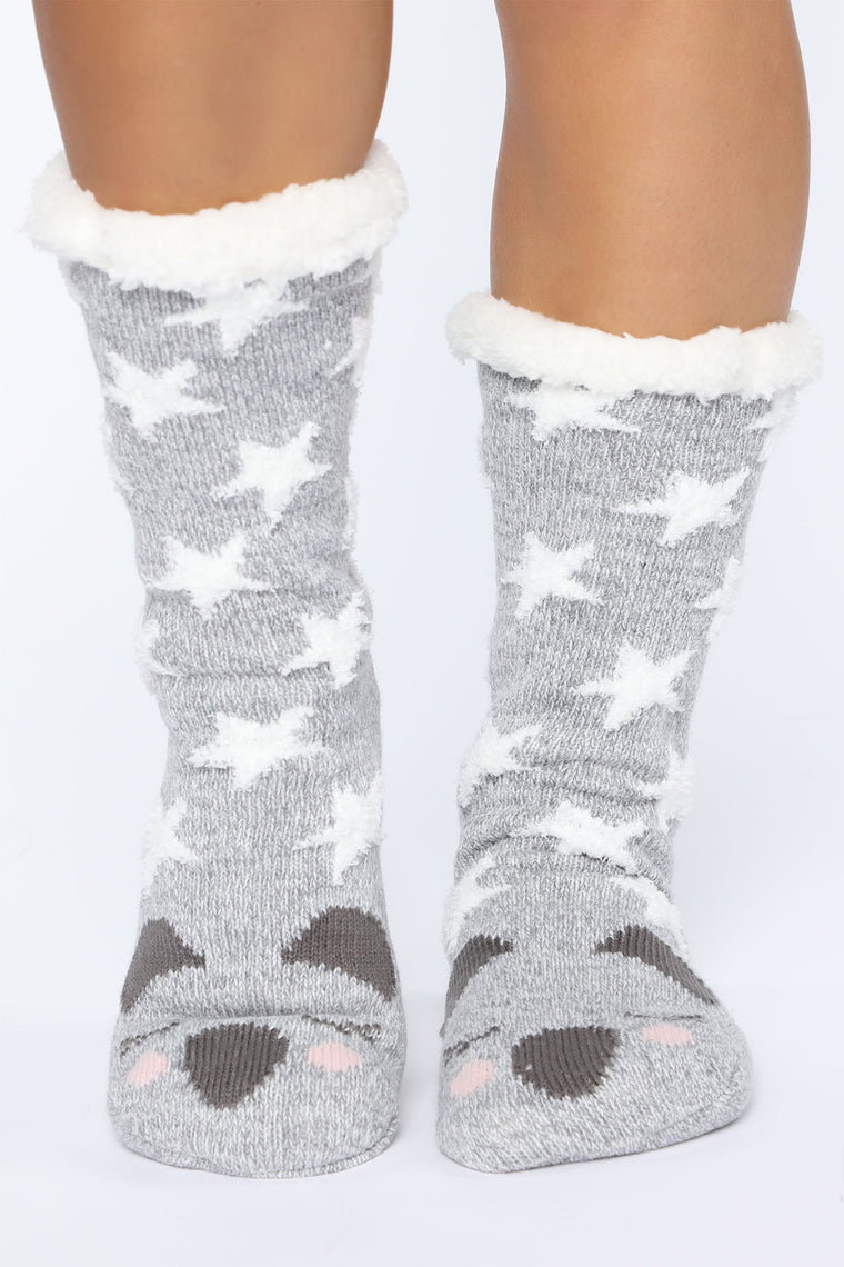 Koala Cozy Socks   Grey by Fashion Nova