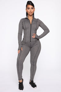 Strictly Tough Active Legging in Power Flex - Grey Angle 3