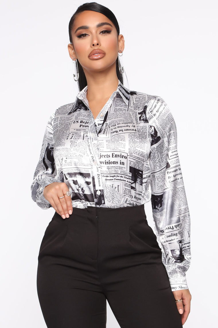Get With The Program Satin Shirt   White/Black by Fashion Nova