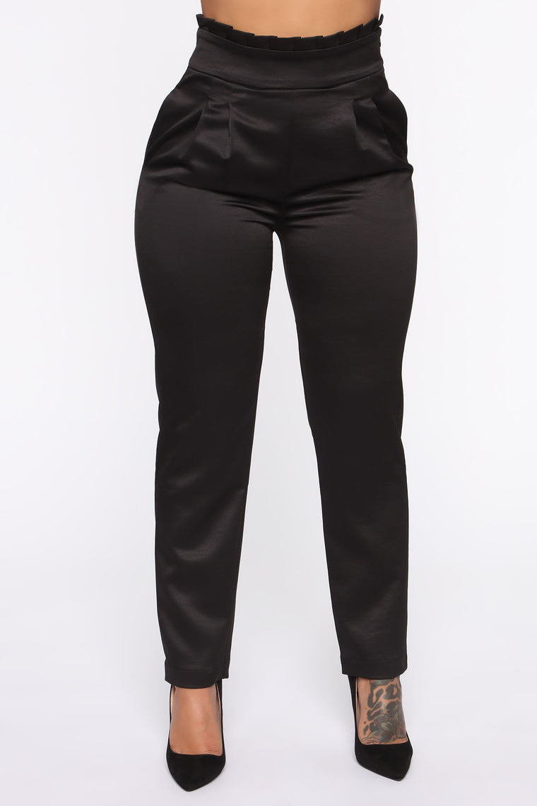 Ready For Change Satin Trouser - Black