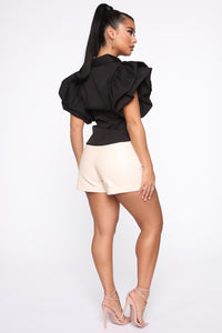 Work It All Out PU Shorts - Cream Angle 6
