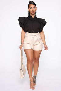 Work It All Out PU Shorts - Cream Angle 1