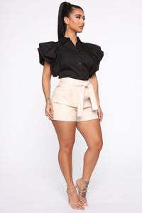 Work It All Out PU Shorts - Cream Angle 4