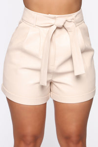 Work It All Out PU Shorts - Cream Angle 2