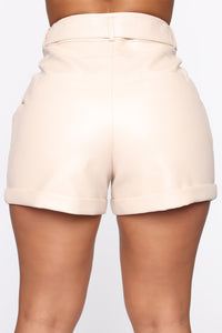 Work It All Out PU Shorts - Cream Angle 5