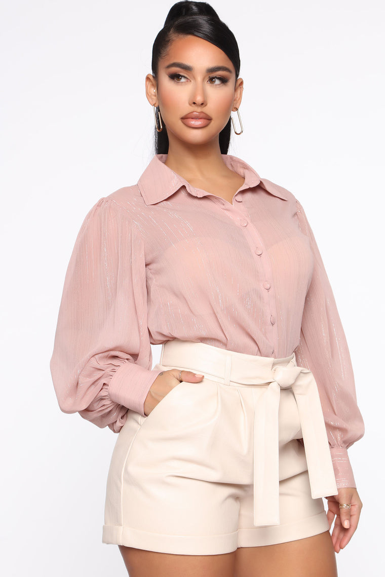 Key To Success Button Down Shirt - Mauve