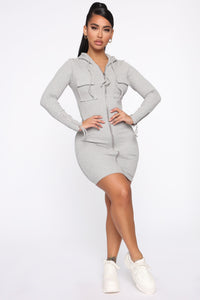 Right And Tight Hooded Mini Dress - Heather Grey