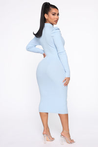 Cold Case Sweater Midi Dress - Blue