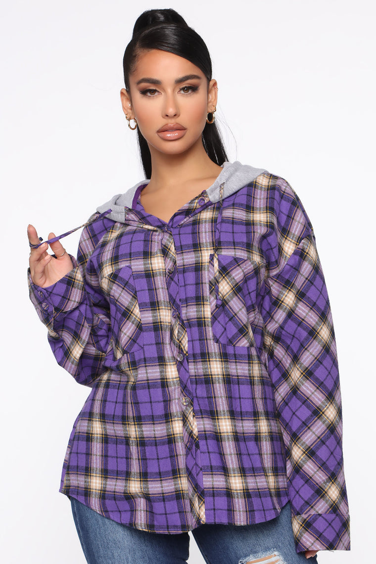 Plaids For Days Button Down Top   Purple by Fashion Nova