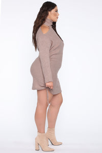 Golden Sky Sweater Mini Dress - Mocha