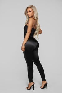 Soft Heart Satin Leggings - Black Angle 5