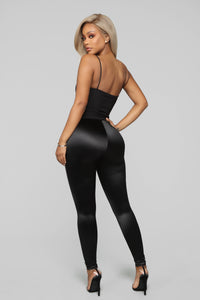 Soft Heart Satin Leggings - Black Angle 2