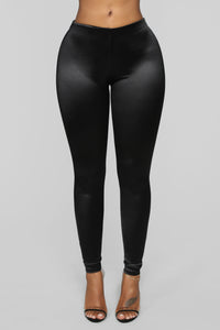 Soft Heart Satin Leggings - Black Angle 1