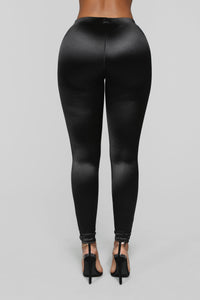 Soft Heart Satin Leggings - Black Angle 6