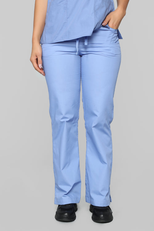 Be Patient Flare Scrub Pant - Ciel Blue