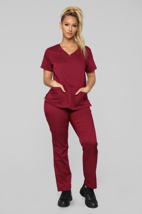 Vital Signs Fitted Scrub Set - Burgundy/Grey