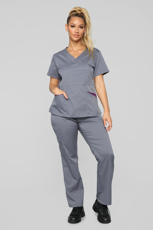 Vital Signs Fitted Scrub Set - Caribbean Grey