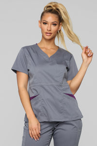 Vital Signs Fitted Scrub Set - Caribbean Grey Angle 2
