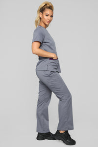 Vital Signs Fitted Scrub Set - Caribbean Grey Angle 3