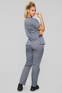 Vital Signs Fitted Scrub Set - Caribbean Grey Angle 5