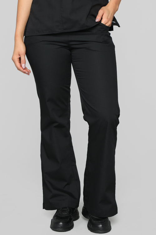 Be Patient Flare Scrub Pant - Black