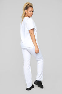 Life Saver V Neck Scrubs Top - White