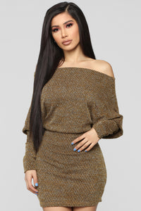 Baby Don't Go Sweater Dress - Mustard Angle 1