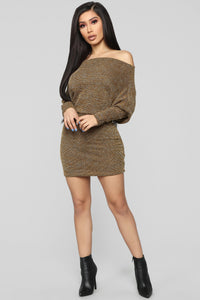 Baby Don't Go Sweater Dress - Mustard Angle 2