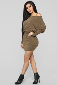 Baby Don't Go Sweater Dress - Mustard Angle 4