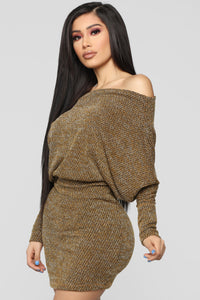 Baby Don't Go Sweater Dress - Mustard Angle 3