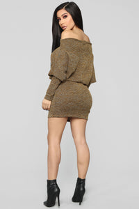 Baby Don't Go Sweater Dress - Mustard Angle 5