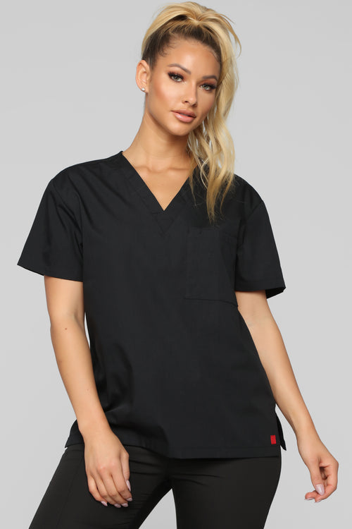 Life Saver V Neck Scrubs Top - Black