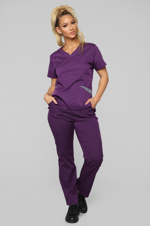 Vital Signs Fitted Scrub Set - Eggplant/Grey