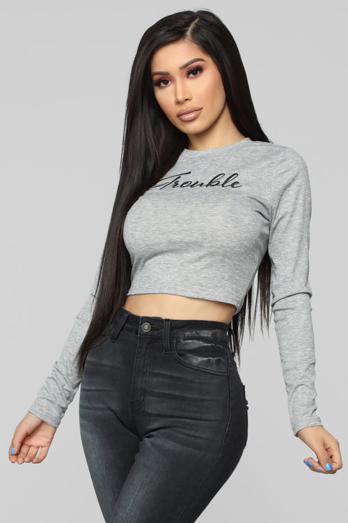 Trouble Long Sleeve Top - Heather Grey