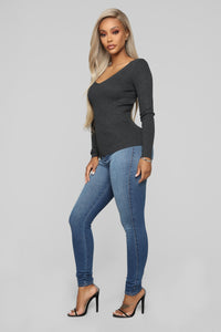 Whenever Ribbed Sweater - Charcoal