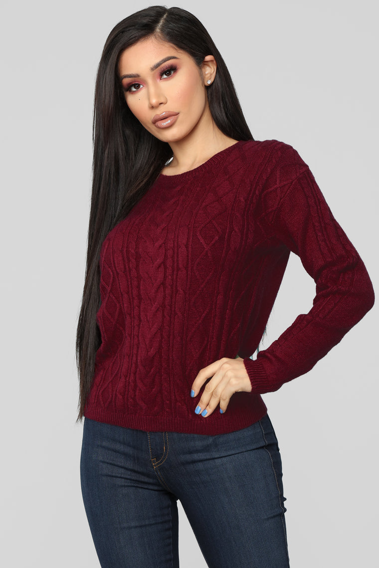 Hold Onto Me Sweater - Burgundy