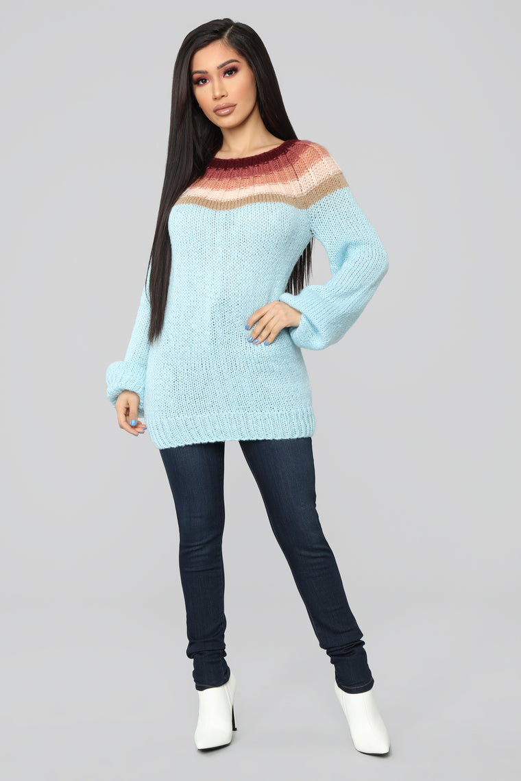All Blocked In Sweater - Blue