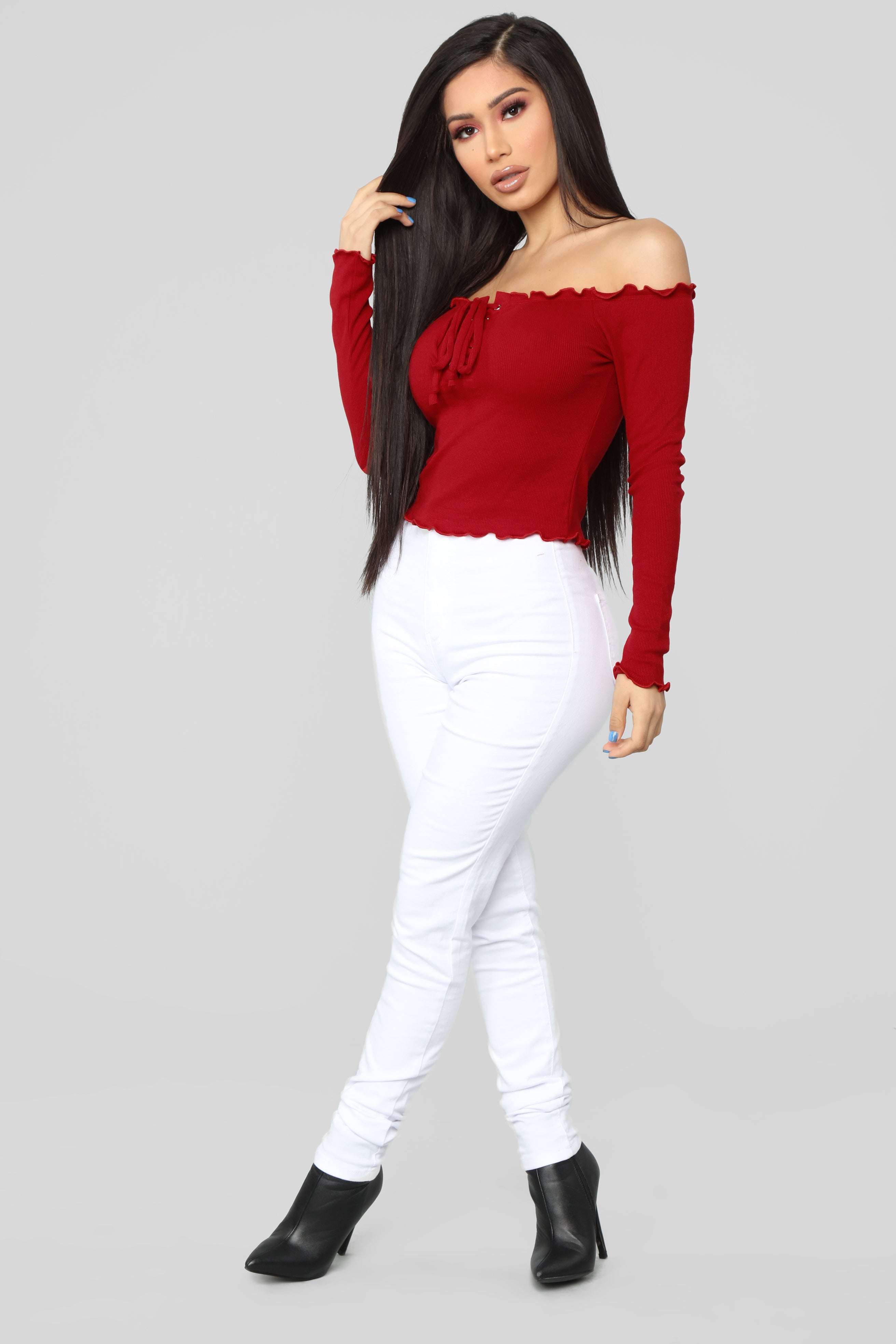 Breanna Lace Up Top Red