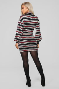 Have It My Way Sweater Dress - Black/Combo