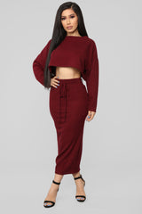 A Beautiful Night Skirt Set   Burgundy by Fashion Nova