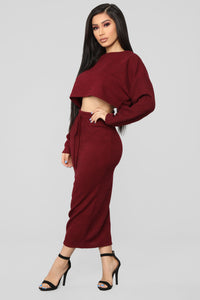 A Beautiful Night Skirt Set - Burgundy