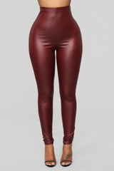 Can't Wait Any Longer Leggings   Burgundy by Fashion Nova
