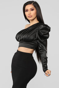 Sweet Romance One Shoulder Top - Black