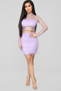 Millennial Girl Sequin Skirt Set - Lavender