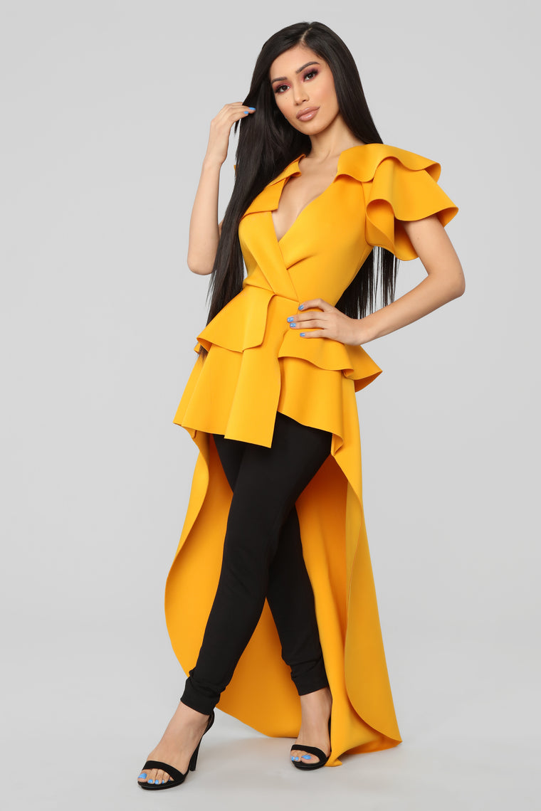 Just One Touch Hi Lo Top - Mustard