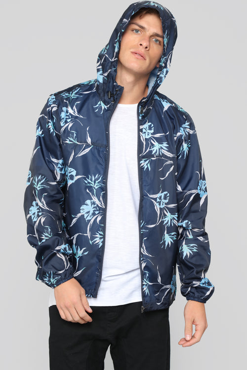 Floral Windbreaker Jacket - Navy