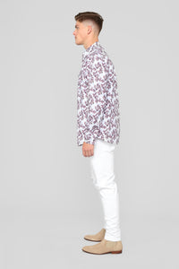 Kye Long Sleeve Woven Top - Purple/Combo
