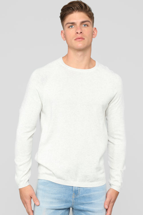 Daniel Crew Neck Sweater - Light Grey